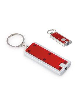 Llavero con Argolla y Mini Linterna con Luz Led - Rojo
