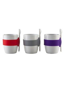 Pocillo Mug Ceramica Geko Banda De Silicona Incluye Cuchara - Blanco