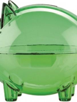 Alcancia Mini Con Diseño Cerdito Cristal - Verde