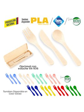 Set De Cubiertos Lunch en Plastico Biodegradable - Rojo