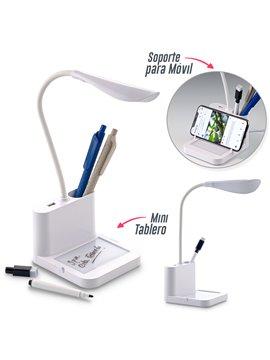 Lampara LED con Mini Tablero y Soporte para Telefono - Blanco