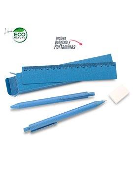 Set Escolar Elaborado en Trigo Eco Biodegradable - Azul