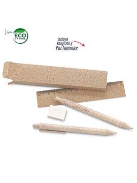 Set Escolar Elaborado en Trigo Eco Biodegradable - Natural