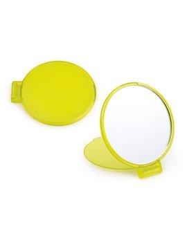 Espejo Redondo de Bolsillo con Tapa Plegable - Amarillo